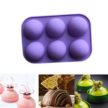 Cupcake Cake Mould DIY Silicone Semicircle 6 Hole Large Sphere