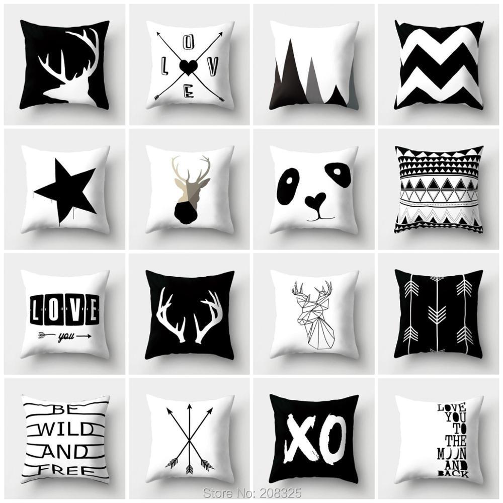 ZENGIA Nordic Geometric Cushion Cover Black Deer Pillow Cover Sofa Decorative Throw Pillows Decoration Home Scandinavian Pillow