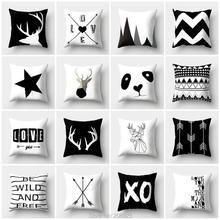Funda de cojín con diseño geométrico nórdico de ZENGIA, funda de almohada cubierta sofá con venado negro, cojines decorativos para decoración del hogar, almohada escandinava