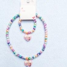2 шт. disney Принцесса мультфильм детская цепочки и ожерелья Замороженные Эльза браслет интимные аксессуары подарок для девочек ювелирны