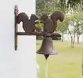 Gusseisen Eichhörnchen Willkommen Dinner Bell Land Ländlichen Hängen Wand Montiert Glocke Türklingel Outdoor Garten Dekoration Braun Tier