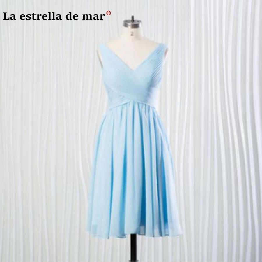 robe demoiselle d'honneur2018 new chiffon sexy V neck length of knee a Line blue   bridesmaid     dresses   cheap vestido madrinha