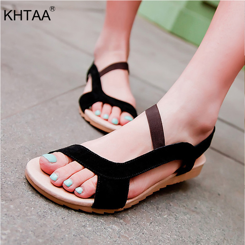 KHTAA Women Sandals Hitcolor Wedges Shoes Causal Beach Plus Size For Female Cow Suede Ladies Flat Shoe For Woman Sandal
