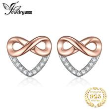 JewelryPalace Infinity Heart Earrings Cubic Zirconia 925 Sterling Silver Stud Earrings Gifts For Womne Anniversary Fine Jewelry bamoer 925 sterling silver love heart shape stud earrings for women clear cubic zirconia fashion anniversary jewelry pas405