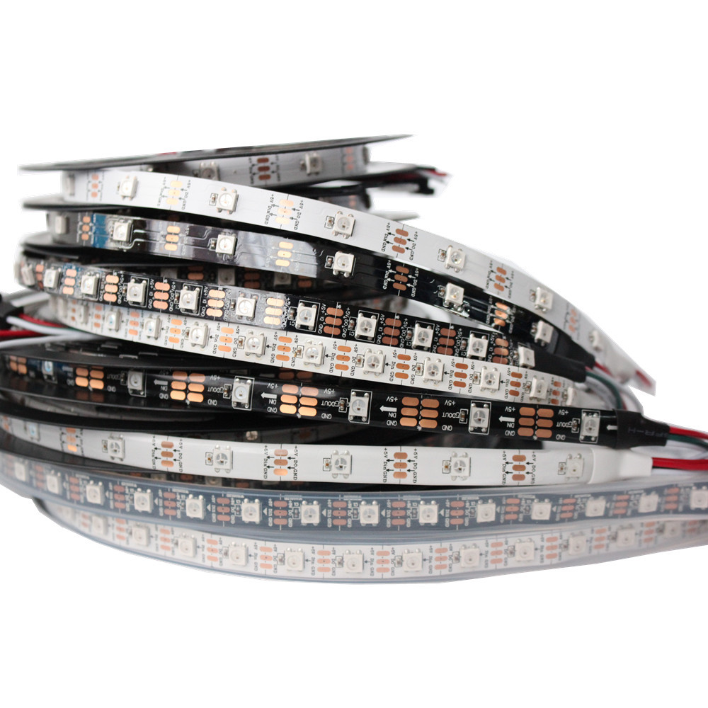 5 m WS2812B 30/60 leds pixels/leds/m Inteligente led pixel tira, Preto/Branco PCB, PCB WS2812 IC; WS2812B/M, IP20/IP65/IP67 DC5V