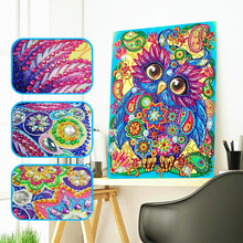 HUACAN Special Shape Diamond Painting 5d Owl Embroidery Animal  Rhinestones Pictures Mosaic Partial 30x40cm