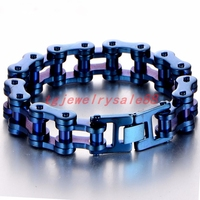 Heavy Huge 19mm Wide Stainless Steel Blue Color Motorcycle Link Chain Bracelet Coo Men's Cuff Bangle Jewelry High Quality 9.25