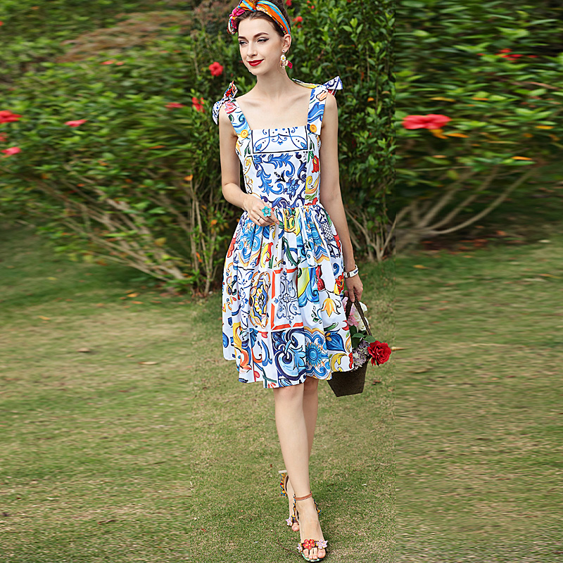 Runway High Quality 2018 Spring Summer New Women Fashion Party Sexy Beach boho Casual Vacation Vintage