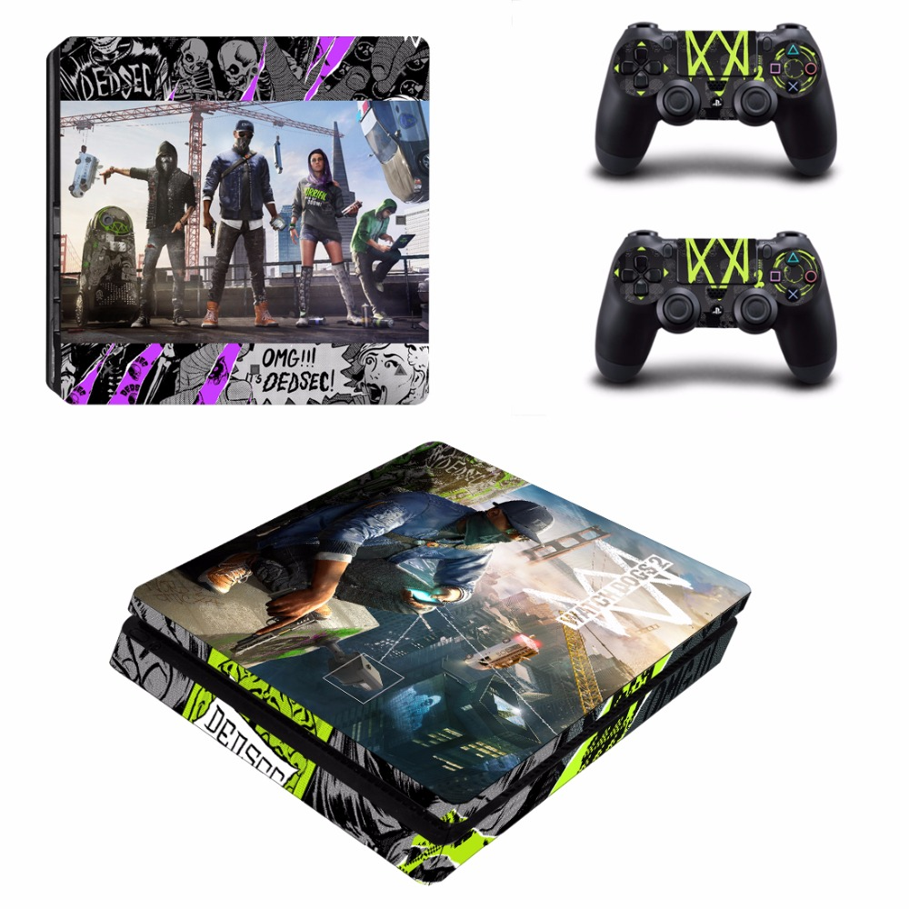 Us 845 6 Offgame Watch Dogs 2 Ps4 Slim Skin Sticker For Sony Playstation 4 Console And 2 Controllers Ps4 Slim Skin Sticker Decal Vinyl In Stickers