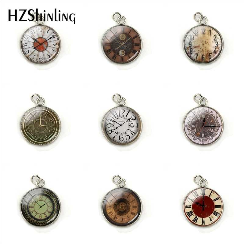 Vintage Clock Faces Cabochon Pendant Charms Handmade Retro Clock Patterns Stainless Steel Plated Charm Necklace Ornaments