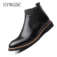 SYWGDC Men Chelsea Boots Men Fashion Brogue Ankle Boots Microfiber Leather Slip-on Cowboy Boots Male High-Top Motorcycle Boots mycolen new 2018 high top martin boots luxury fashion fashion leather men boots ankle motorcycle boots for male men shoe