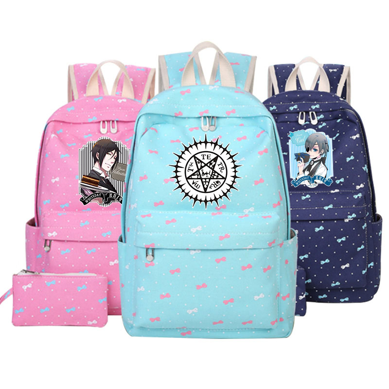 цена Anime Black Butler Shoulders Bag Students School Bag Ciel Phantomhive Sebastian Michaelis Cosplay Backpack Cartoon Adult girlBag