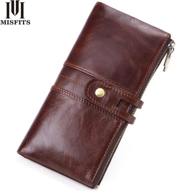 MISFITS 2019 yeni uzun cüzdan erkek hakiki deri debriyaj çanta kart tutucu para çantası kadın portemonnee fermuar çile telefon çantası