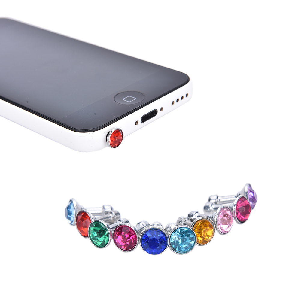10pcs diamond Dust Plug For HTC For Samsung Galaxy s6 For iphone 6 plus 5s 4S 5 6 dust plug 3.5mm earphones phone accessories