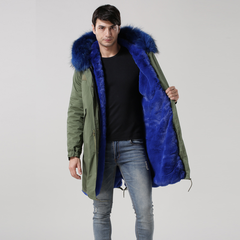 Mens Army Green Blue Faux Fur Lined With Raccoon Fur Hoodies Long ...