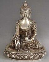 """8.9 """"Tibet Tibet Gümüş Bronz Tıp Buda Heykeli Statü ve Heykelleri Ev ve Bahçe -"""