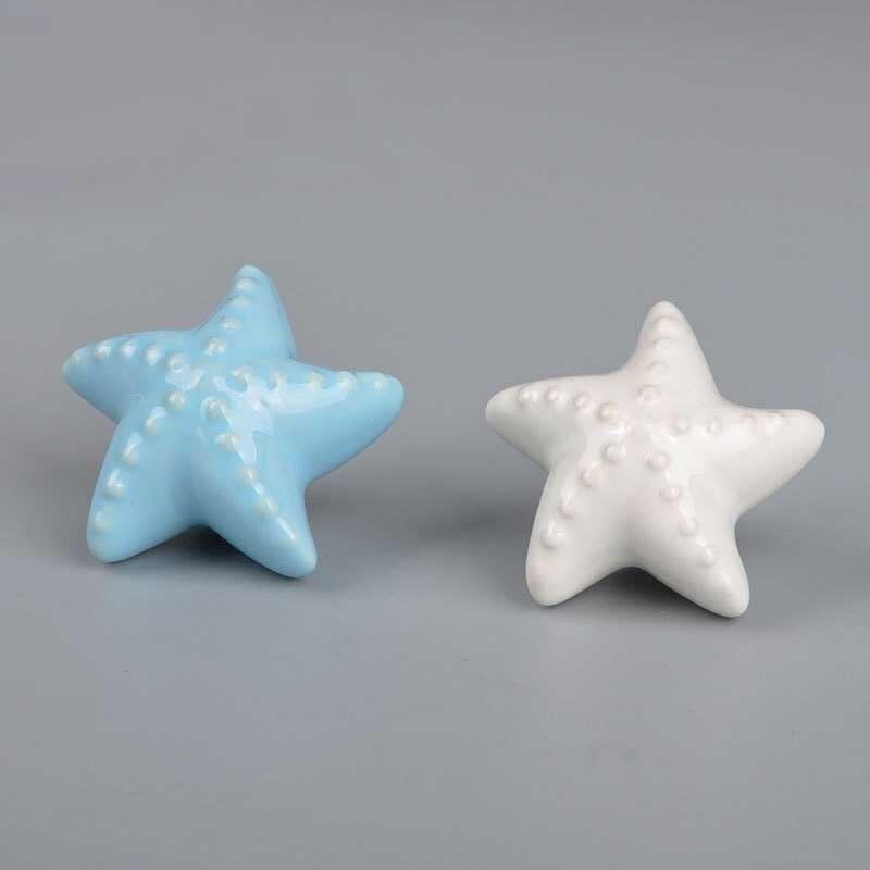 Aqua Blue w White Dots Ceramic Cabinet Knobs Drawer Pulls Closet Door Handles
