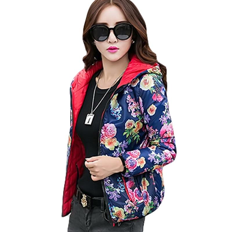 Winter Fashion Women Jacket Coat Pockets Zipper Hooded Reversible Two Side Wear Retro Floral Print Outwear Loose Plus Size XH518 blue fashion two side pockets sport trousers
