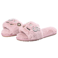 2018 fashion designer perfume decoration fur slippers women winter flip flops camellia pearl beading fur sandals women