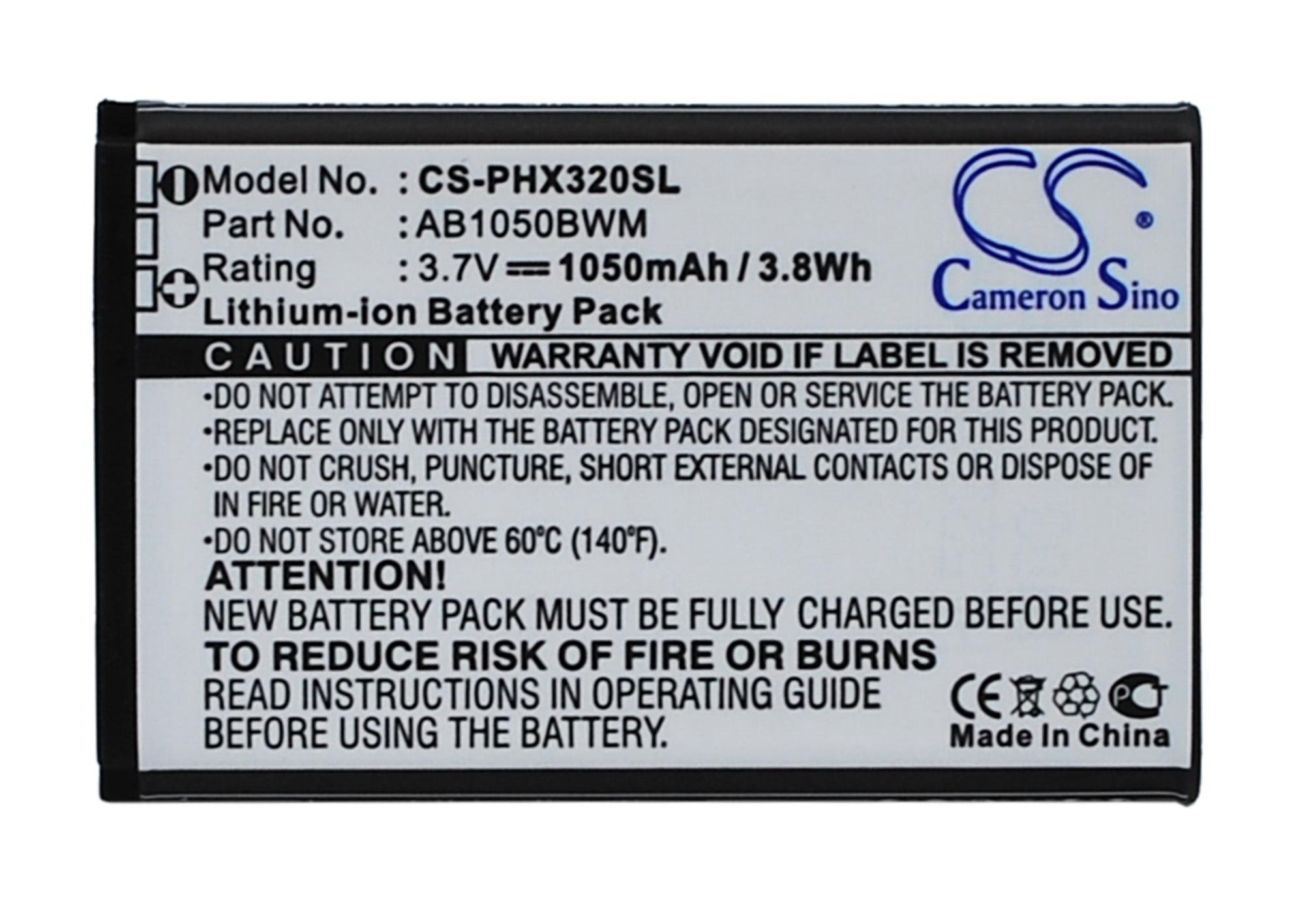 Cameron Sino Haute Qualité 1050 mAh Batterie AB1050BWM pour Philips Xenium 312, Xenium 320, Xenium X186
