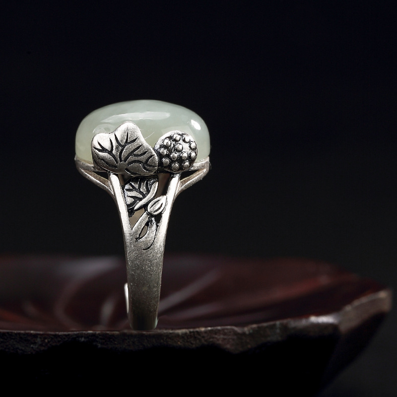 S990 silver Zuyin retro lotus lotus inlaid natural and nephrite lady high-grade opening ring цена и фото