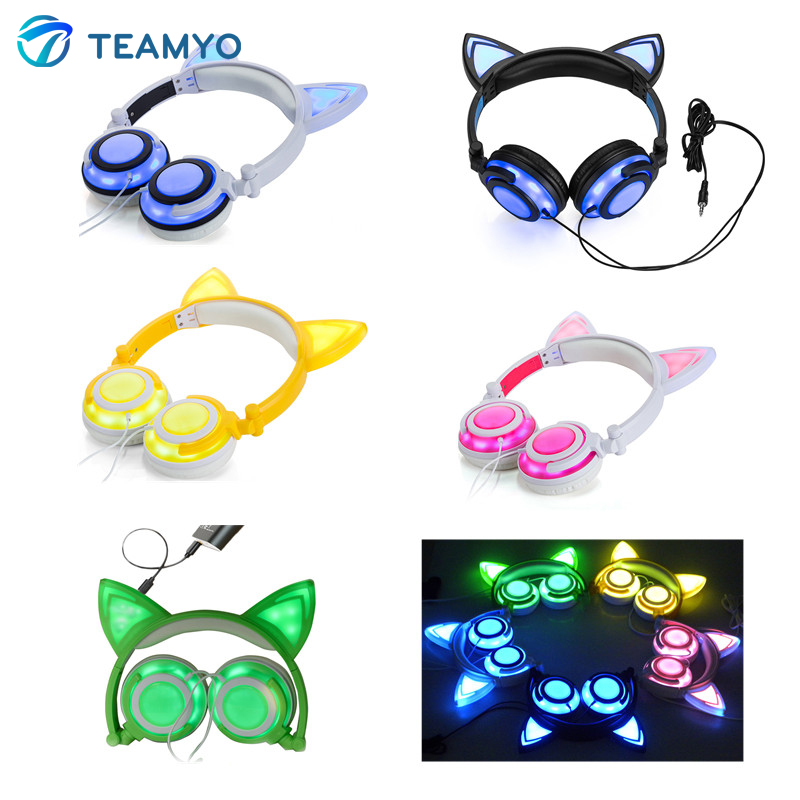 Newest Flashing Glowing Cat Ear Headphones Foldable Stereo headphone Gaming Headset With Led Light For iPhone Samsung Xiaomi PC