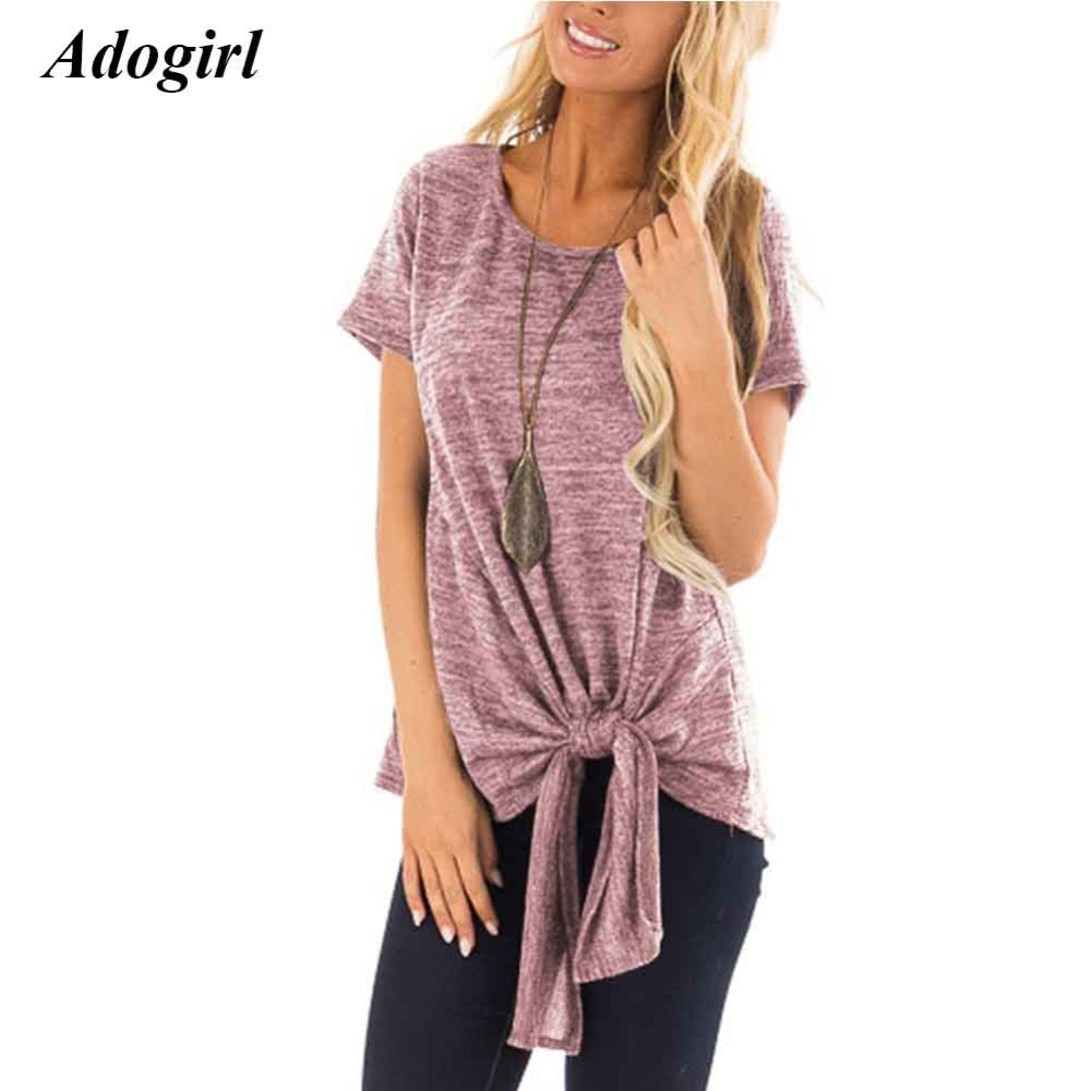 Adogirl Casual Lace Up Bandage T Shirt Women Sexy Short Sleeve O Neck Sold Women's T Shirt Top Elegant Summer Outwear Top Female