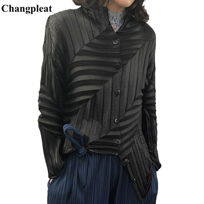 Женская плиссированная куртка Changpleat, однотонная однобортная приталенная куртка оригинального дизайна с длинными рукавами, весна 2019