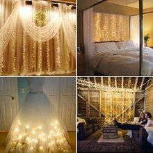 LED függöny String fények 4.5Mx3M 300leds 220v Xmas tündér fény Kültéri otthoni Esküvő / party / függöny / kerti dekoráció