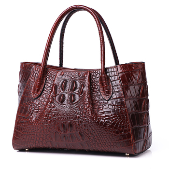 100% Genuine Leather Women Single Shoulder Top Handle Bags Oil Wax Cowhide Crocodile Pattern Cross Body Messenger Tote Handbag