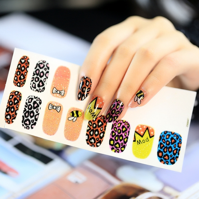 Leopard Bee Nail Art Sticker Orange Purple Polish Nail Designs ...