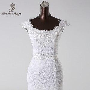 Image 2 - Poemssongs beautiful lace flowers  mermaid Wedding Dress 2020 vestidos de noiva robe de mariage bridal dress  Free shipping