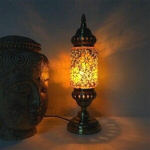 Image 3 - Nuovo stile Turco mosaico Lampada da tavolo vintage art deco Handcrafted lamparas de mesa di Vetro romantico letto lamparas con mosaicos