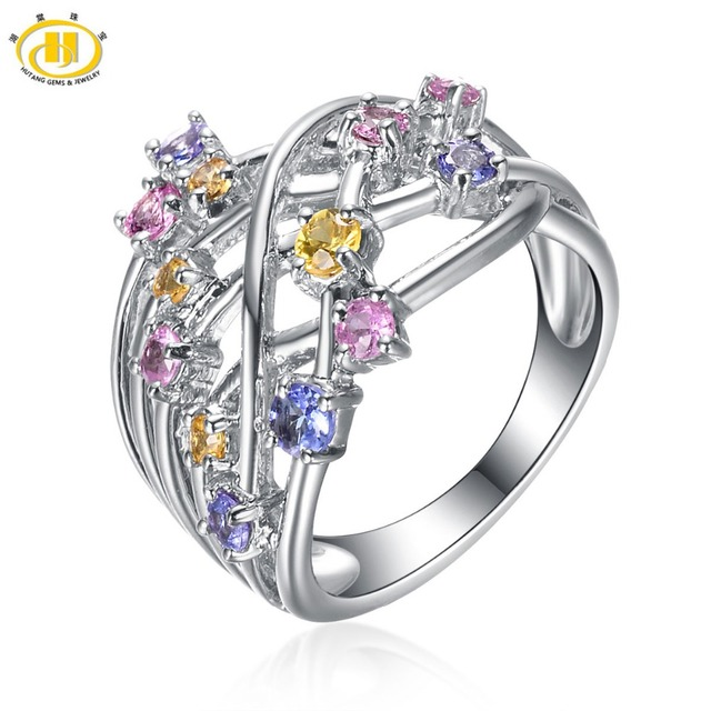 Hutang Natural Color Sapphire Solid 925 Sterling Silver Ring Gemstone Fine Jewelry For Women's High Quality