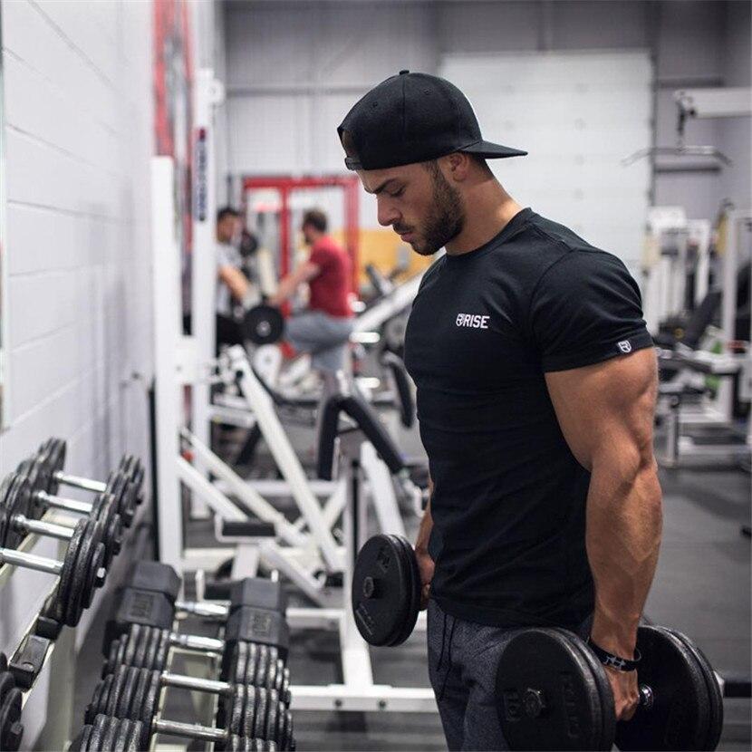 2018 New Men Gyms Fitness Bodybuilding t font b shirt b font Printed cotton Crossfit male