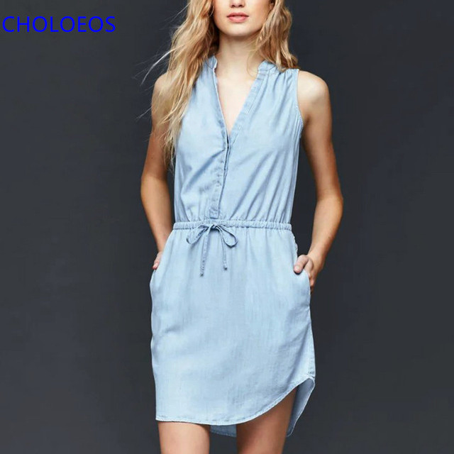 d0e9de5a16a2a8 2017 Denim Dress Women Summer Light Blue Sleeveless Sashes Shift Dress  Double Pockets Casual Mini Dresses vestido jeans