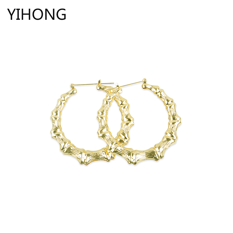 Large Circle Bamboo Hoop Earrings Basketball Wives Gold Color Hot Sale Brincos 75mm Diameter Round Earrings for Women