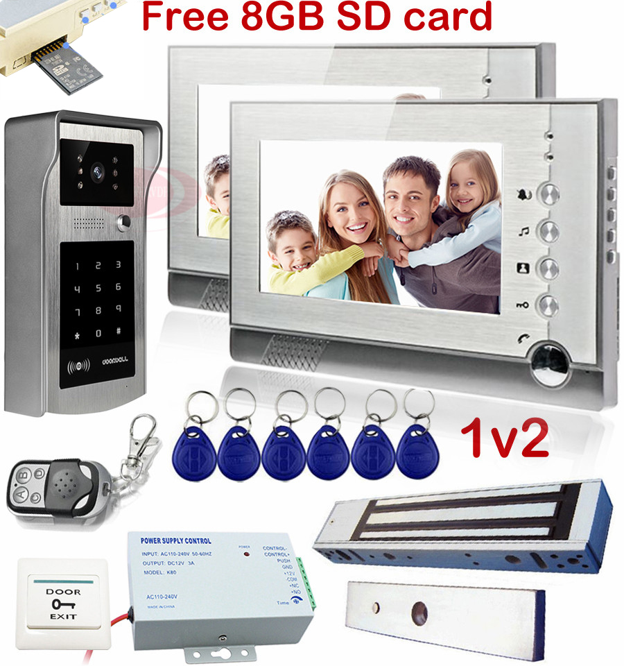 1V2 Video Door Phone With Video Recording 8GB Sd Card Rfid Inductive Card Code Unlock Intercom