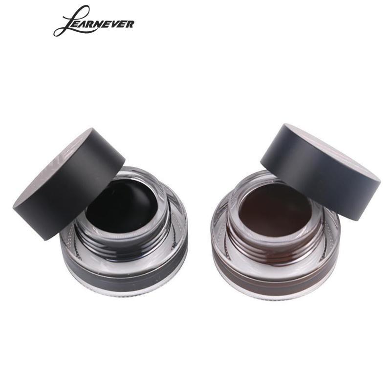 LEARNEVER New 2pcs/lots Long Lasting Waterproof Eyeliner Cream with Brush Black Brown Color Pigments Makeup Brand Eye Liner Gel