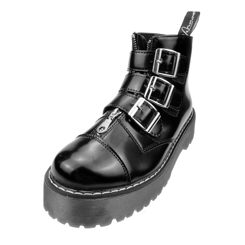 89cb2910a6691 New Womens Gothic Rock Platform Shoes Retro Woman Motorcycle Ankle Boots  Multi Buckle Zip Punk Shoes Black Free Shipping-in Women's Flats from Shoes  on ...