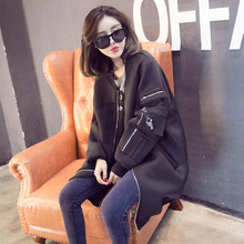 2016 autumn new fashion street women's korean long casual outwear baseball trench coat good quality Space cotton