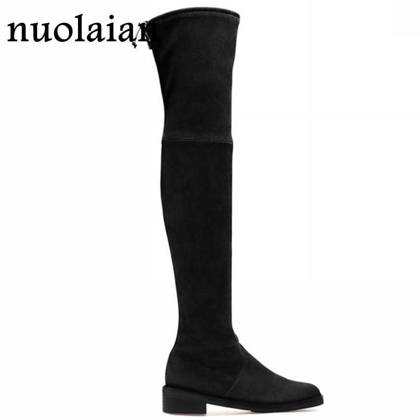 สีดำ Faux หนังนิ่มหนังรองเท้าผู้หญิงชุดฤดูหนาวรองเท้า Faux Fur Snow รองเท้าสตรีรองเท้าบู๊ตเข่า boot รองเท้าเลดี้