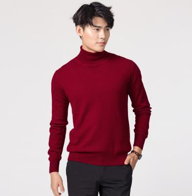 Кашемировая водолазка мужская, мужской свитер, одежда для осени и зимы, свитера цвета Омбре, пуловер для мужчин с высоким воротником - Цвет: Бургундия