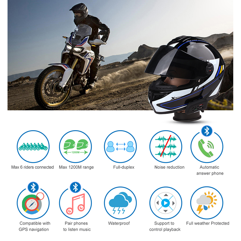 Fodsports V6 Pro Intercom Motorcycle Wireless Bluetooth Intercom Helmet Headset 6 Rider 1200M Moto BT Interphone