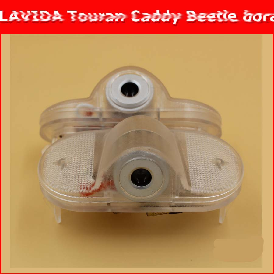 2pcs HD LED Courtesy welcome light car Door Logo light LAVIDA Touran Caddy Beetle bora 3d Ghost Shadow Light no drill