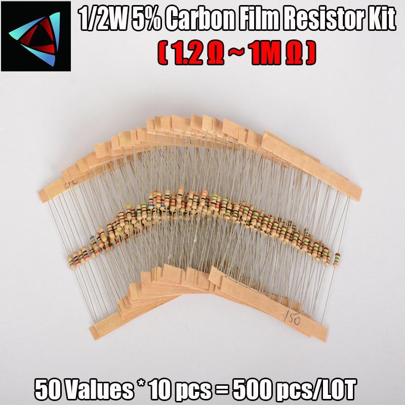 500PCS/LOT 50 Values Each 10Pcs 1/2W Power 0.5W 5% Tolerance Carbon Film Resistors Assorted Assortment Kit 1.2 Ohm-1M Ohm