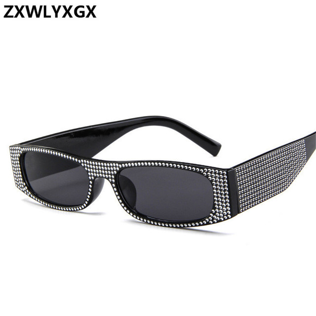 ZXWLYXGX Small square sunglasses women imitation diamond sung lasses Retro evening glasses cross fashion sunglasses UV400 1