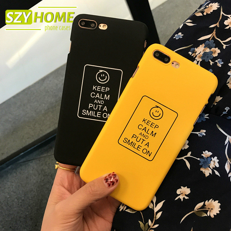 SZYHOME Phone Cases for IPhone 6 6s 7 Plus Fun Hand-painted Letter Smile Face Frosted Plastic for IPhone 7 Cover Case Capa Coque
