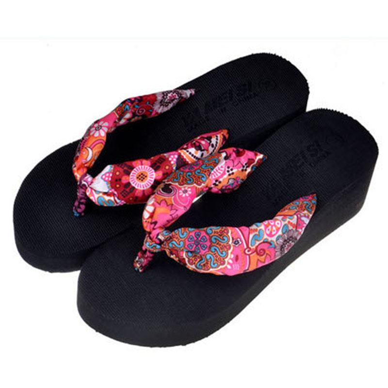2017 Women Sandals Shoes Sapato Feminino Bownot Wedge Flip Flops Fashion Beach Women Slipper Shoes Bohemia Women's Shoes Flower кашпо подвесное плетеное keter