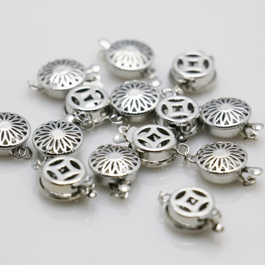10PCS Hot wholesale Snap Button Metal Accessory Silver-plate for DIY Necklace Bracelet Machining parts Jewelry Making 12x4.6mm